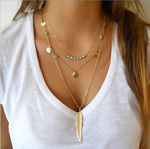 Awanka Boho Turquoise Layered Necklaces Feather Pendant Necklace Chain Sequin Necklace Jewelry for Women and Girls (Gold)