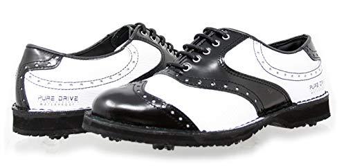 PORTMANN Prime Club - Scarpe da golf da uomo, in pelle di alta qualità, extra leggere e flessibili, Pure Drive Tec., Nero (Nero Cabrio bianco tumbled), 43.5/44 EU