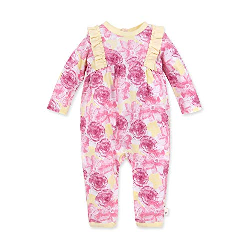 Burt's Bees Baby Baby Girls' Romper Jumpsuit, 100% Organic Cotton One-Piece Coverall, Vibrant Blooms, 18 Months
