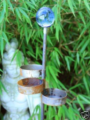Zen Gartenstecker Beetstecker Glaskugel Teelichter rost 120cm