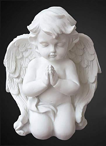 weiwei Estatuas de querubines de Rodillas Rezando,mármol,decoración del jardín del hogar,Boda,Navidad,alas de niños para Interiores y Exteriores,esculturas de ángeles D 21x16x12cm(8x6x5inch)