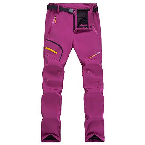 LUI SUI Pantalones de Senderismo a Prueba de Viento para Mujer esquí al Aire Libre Nieve Pesca Caminar Forro Polar cáscara Blanda Pantalones de Invierno de Secado rápid