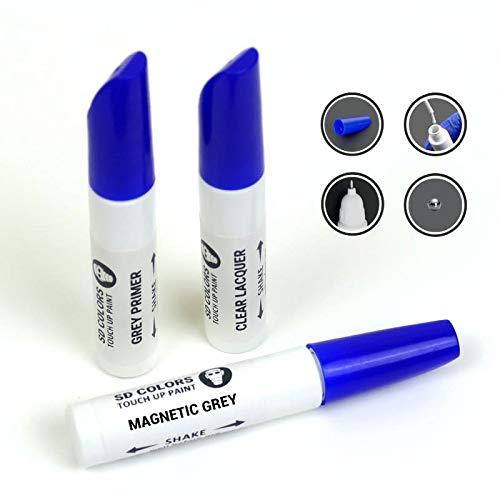 SD COLORS Kit de reparación de bolígrafos de pintura para retocar de 12 ml, color gris magnético (pintura+imprimación+laca)