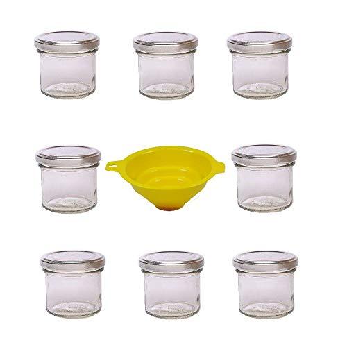 Viva Haushaltswaren - 8 x Marmeladenglas 125 ml mit silberfarbenem Verschluss, runde Sturzgläser als Einmachgläser, Gewürzgläser, Glasdosen etc. verwendbar (inkl. Trichter)