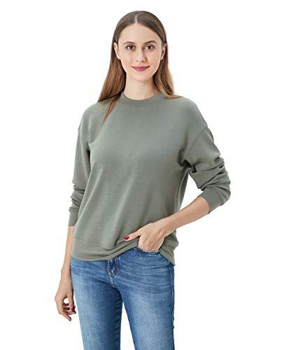 Women Velvety Super Soft Sweatshirt Long Sleeve Casual Pullover Shirt Tops Olive XL