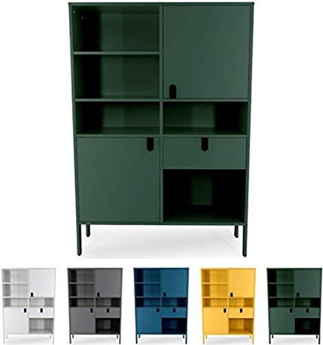 tenzo 8563-031 UNO Designer Buffet Haut 2 Portes, 1 tiroir, Vert, MDF Particules ép. 19 et 16 mm Panneau arrière laqué. Poignées en matière Plastique, 176 x 109 x 40 cm (HxLxP)