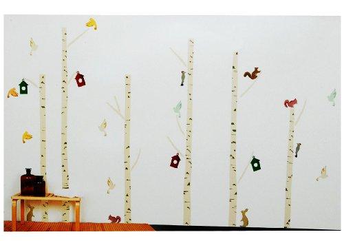 alles-meine.de GmbH 55 TLG. Set XXL Wandtattoo Baum mit Vögel - Wandsticker Vogelhaus Bunt Vogel Aufkleber Wandaufkleber - selbstklebend für Wohnzimmer und Kinderzimmer Deko Stic..