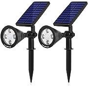 InnoGear 3rd Generation Motion Sensor Solar Lights Outdoor Spotlight Outside Landscape Garden Light LED Security Lighting Auto On/Off for Pathway Yard Walkway Patio Deck, Pack of 2