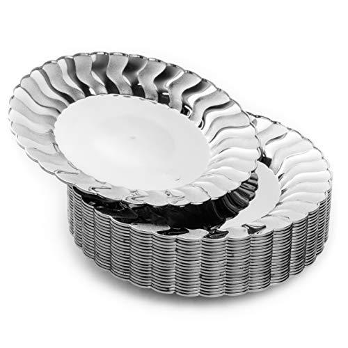 matana 20 Kleine Silber Hartplastik Partyteller, Dessertteller aus Kunststoff, 19cm - Elegante, Stabil & Wiederverwendbar.