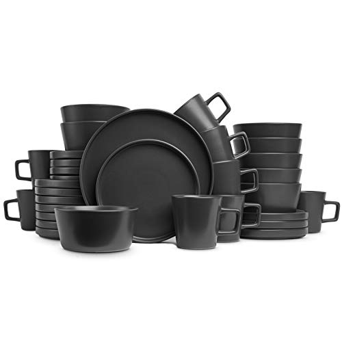 Stone Lain Coupe Dinnerware Set, Service For 8, Black Matte