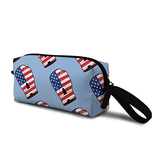 Frauen Kosmetische Aufbewahrungstasche Boxhandschuh mit Flagge von Amerika Kosmetiktasche Rei?Verschluss Kulturreisetasche Fall Unisex Make-Up Veranstalter