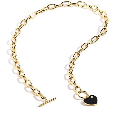 BOUTIQUELOVIN Gold Chain Choker Necklace, 14K Gold Plated Fashion Designer Chunky Chain Necklace for Women
