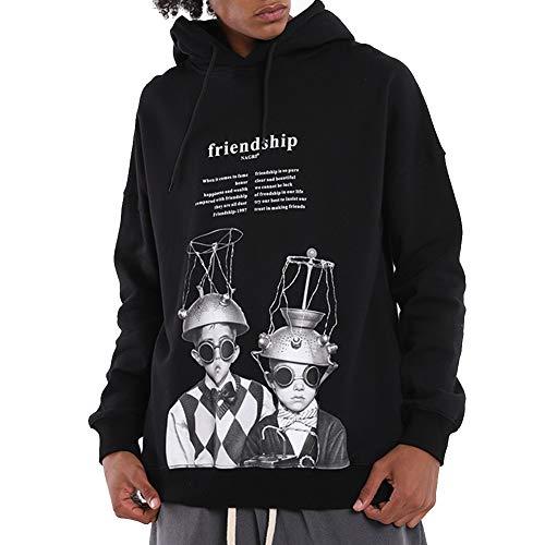 KRILY Heren Sweater Zwart Trui Pullover Hooded Fleece Baseball T Shirt Hoody