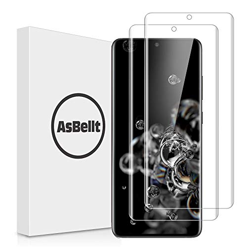 """AsBellt [2 Pack] Screen Protector for Galaxy S20 Ultra, Galaxy S20 Ultra 5G 6.9"""" Full Adhesive Case Friendly Ultra Clear Anti-Scratch 9H Hardness 3D Glass Screen Protector for Samsung Galaxy S20 Ultra"""