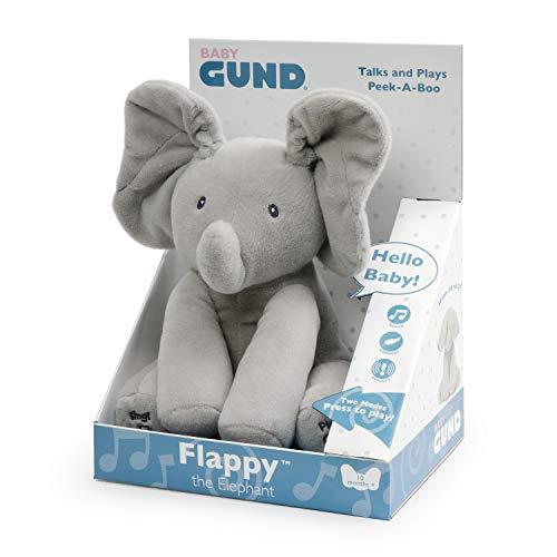 GUND-Flappy elefantino Peluche Interattivo parlante, 30.5 cm, due Modalità di Gioco, da 10 mesi, 6054485, versione italiana