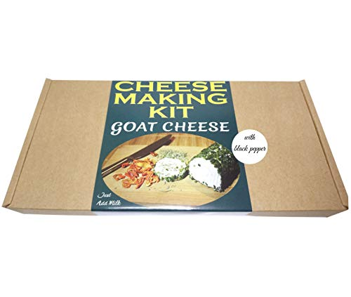 Cheese Making KIT = GOAT CHEESE WITH BLACK PEPPER= Great Gift Present = Full instruction Included Just Add Milk