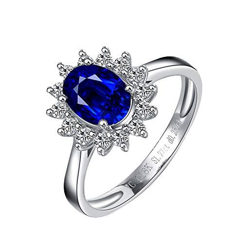 YCGEMS Anelli di Fidanzamento con Zaffiro Blu Autentico Autentico da 1,0 ct da 1,0 ct per Le Donne Anello di Fidanzamento con Diamante Reale in Oro Bianco 18 ct,S