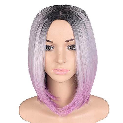 QuRRong Perruque Longueur de l'épaule Fibres synthétiques Droites Femmes 2 Tons Perruques for Party Cospaly Cheveux pour Le Concours de déguisements