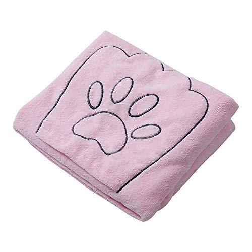 Winthome Hundehandtuch, hundehandtuch extra saugfähig, microfaser handtücher für Hunde Katzen, Großer Hunde Bademantel Schnelltrocknend Warm (100x130cm, Rosa)