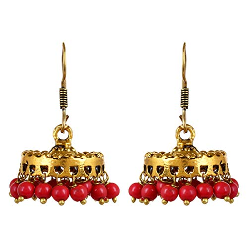 Sansar India Oxidized Small Lightweight Jhumka Indian Earrings Jewelry for Girls and Women 1755