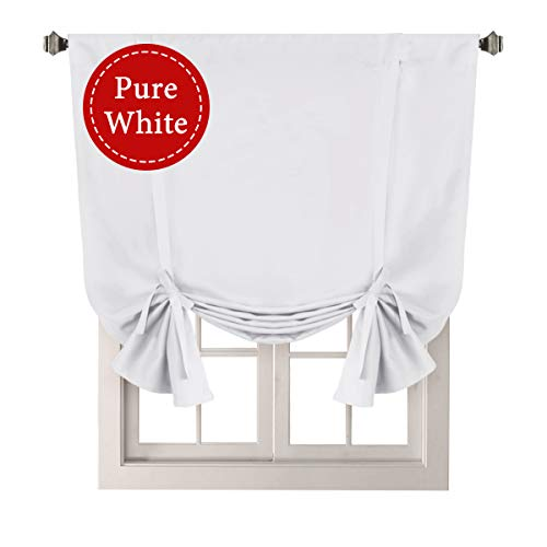 H.VERSAILTEX Pure White Curtain Thermal Insulated Tie Up Window Shade Light Blocking Curtains for Bathroom, Rod Pocket Panel- 42' Wide by 63' Long