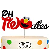 Sesame 2nd Birthday Elmo Cake Topper Oh Twodle Cake Topper Sesame Street Party Decoration Supplies for Kids 2nd Birthday Elmo Theme Party Sesame Felt Cake Topper for Two Year Old Kids