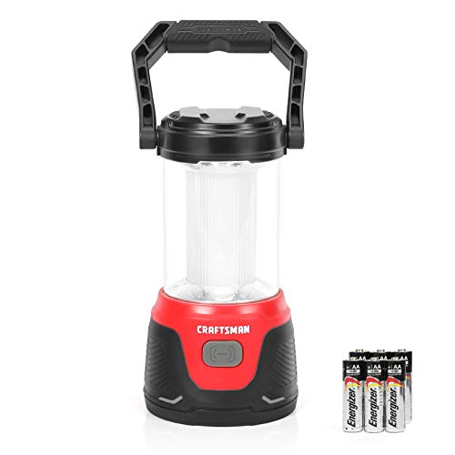 Craftsman LED Camping Lantern, 200 Hours Run Time, 500 Lumens, 4 Light Modes, Perfect Flashlight for Emergency, Survival, Hurricane, Outages,Hiking, 6AA Alkaline Batteries Included