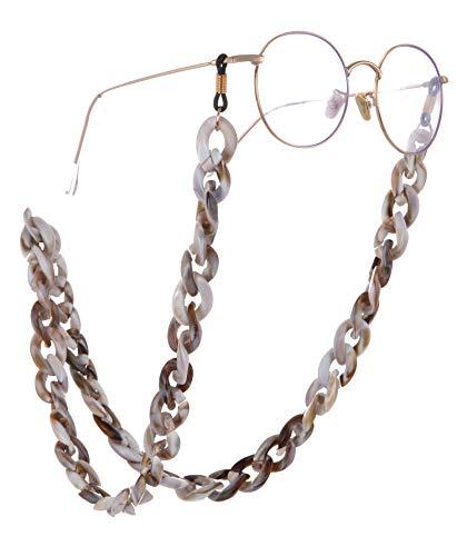 Eueavan Cadena entrelazada de sujeción para gafas de mujer (acrílico, textura de mármol)