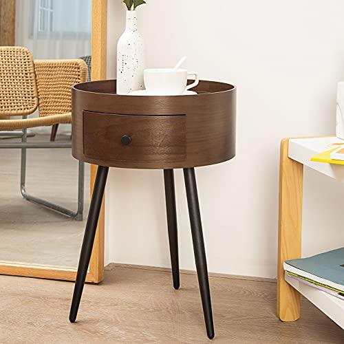 Beistelltisch mit rundem Ende, akzentuierter Sofatisch mit Schublade, Nachttische für kleine Räume, Nachttisch, Couchtisch, Nachttisch für Wohnzimmer, Schlafzimmer und Büro, einfache Montage