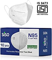 Siso N95 5 Layer Face Mask FFP2 (Pack of 10) - ISI Mark/BIS Certified