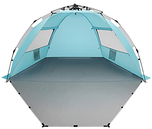 Oileus X-Large 4 Person Beach Tent Sun Shelter - Portable Sun Shade Instant Tent for Beach with Carrying Bag, Stakes, 6 Sand Pockets, Anti UV for Fishing Hiking Camping, Waterproof Windproof, Sky Blue