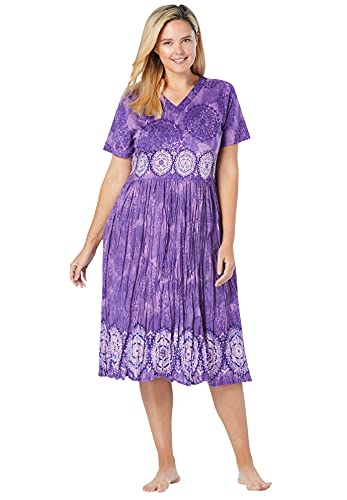 Only Necessities Women's Plus Size Crinkle Cotton Lounger House Dress or Nightgown - 4X, Plum Burst Medallion Purple