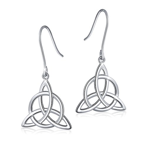 925 Sterling Silver Good Luck Irish Trinity Celtic Knot Triangle Vintage Dangle Drop Earrings