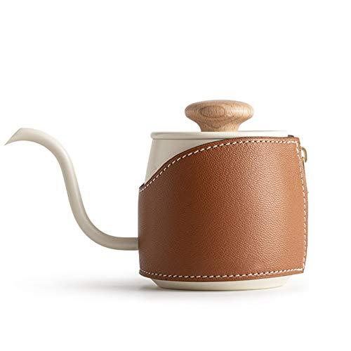 PN-Braes Tetera de café 360ml Cafetera Acero Inoxidable 304 Resistente al Calor de la Mano del sacador Verter sobre Hervidor Negro Blanco para el Servicio de café (Color : White, Size : 16x10cm)
