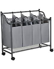 SONGMICS Wasmand op wielen, wassorteermachine met 4 afneembare stoffen zakken, wasverzamelaar, opbergruimte voor speelgoed, stevig, 4 x 35 liter, grijs 777LSF005GS