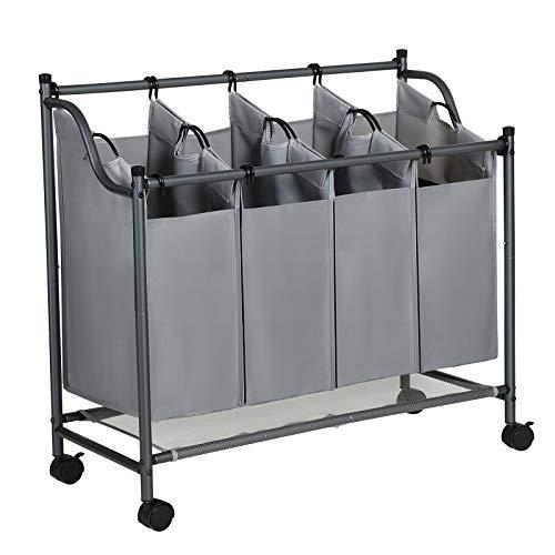 SONGMICS Wäschekorb auf Rollen, Wäschesortierer mit 4 abnehmbaren Stofftaschen, Wäschesammler, Aufbewahrung für Spielzeug, stabil, 4 x 35 Liter, grau LSF005GS