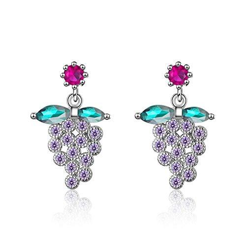 Women'S For Drop Earrings,Temperament Purple Plant Grape Zircon Dangle Earrings Hypoallergenic Lightweight Drop Pendant Jewelry Earrings For Women Girls Party Wedding Valentine'S Day Gift