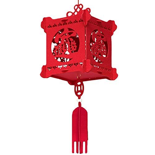 Papierlaterne,Chinesische Laternen,Mode 3D Hollow-out Vlies Rote Laterne Hängende Dekoration Ornament für Chinesisches Neujahr Frühlingsfest Home Office 21x50 cm Stil A