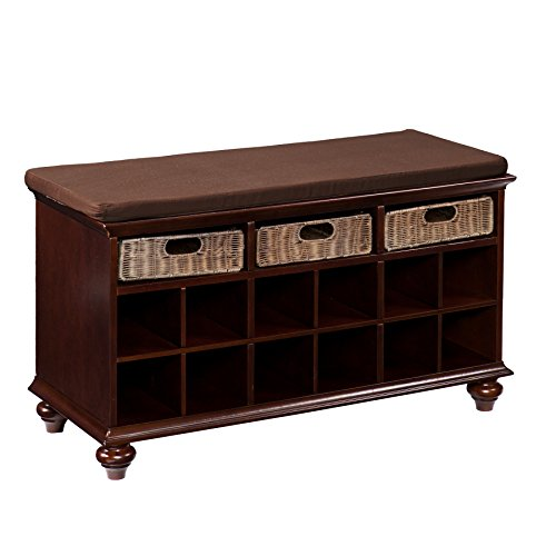 Chelmsford Entryway Storage Bench - Shoe Cubbies w/ Fixed Shelves - Expresso Finish