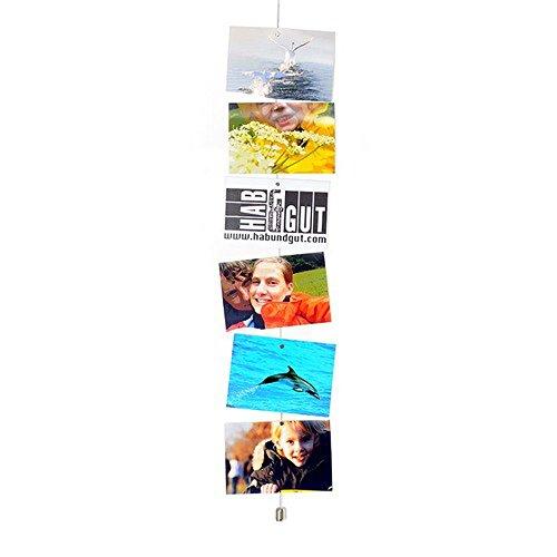 HAB & GUT -MC001- Cuerda de acero vertical para colgar fotos, 200 cm, 12 imanes de neodimio