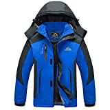 MAGCOMSEN Fleece Jackets Mens Winter Walking Hiking Jackets Soft Shell Fleece Thermal Mens Parka Coat for Skiing Snow Skating Blue