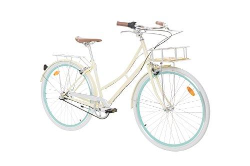 Fabric City Bicicleta de Paseo- Bicicleta de Mujer 28' con Cesta, Cambio Interno Shimano 3V, 5 Colores, 14kg (Cream Stokey Deluxe)