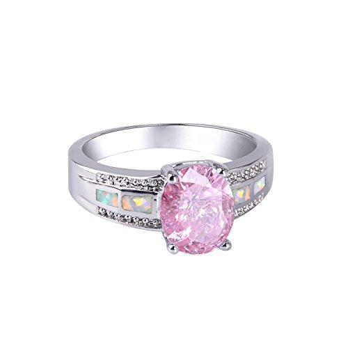 Anillos KELITCH para mujer, mezcla de niña, ópalo azul, anillo de puño abierto, chapado en plata de ley 925, 47B-8