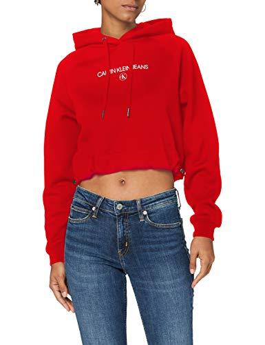 Calvin Klein Jeans Damen Inst Round Ck Hoodie Pullover, Red Hot, XS