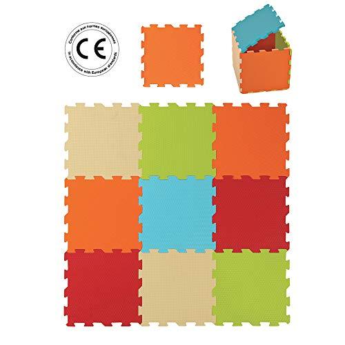 LUDI – Tapis de sol épais pour l'éveil de bébé – 10004 - puzzle géant – dès la naissance – lot de 9 dalles en mousse aux couleurs douces.