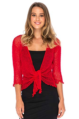 Back From Bali Womens Lightweight Knit Cardigan Shrug Lite Sheer Fiesta Red