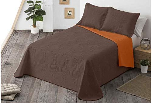 Energy Colors Textil-Hogar - Chil Cama 150 y 135 (250 x 265 cm) - Colcha Boutí Verano Reversible Liso Bicolor con 2 Funda Cojín 50 x 70 cm (Marrón)