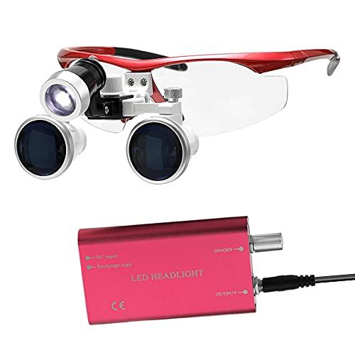 Lupa Wearable Portátil 3.5X 420mm Lupas Binoculares Médicas Cirúrgicas Lupas de Fone de Ouvido de Vidro Óptico + 3 W LED Farol