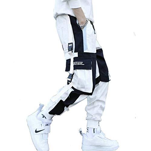 Streetwear Herren Cargo Haremshose Hip Hop Lässige männliche Trainingshose Joggerhose Harajuku Herrenhoses K171 White Chinese Size XXL