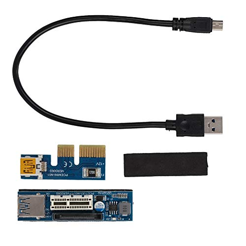 Bewinner PCI-E 1X Cable de extensión Riser Card Power USB Extender Black...